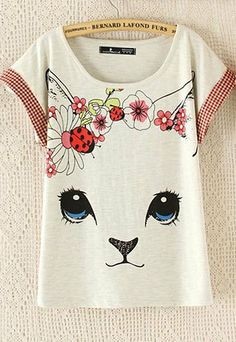 Cat Floral Print Checkered Relaxed Short Sleeve T Shirt