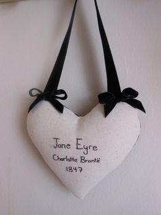 Jane Eyre Charlotte Bronte Hanging Heart by ANovelHeart on Etsy
