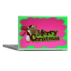 Pink Merry Christmas Laptop Skins on CafePress.com