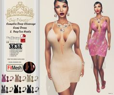 Camelia Deep Cleavage Cami Dress & Peep Toe Heels Group Gift by Chic Princess