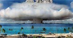 Bikini Atoll Atomic Bomb Test Colorized a native populations hurt by US govt