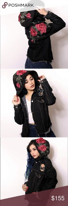 Distressed denim jacket with embroidered roses Brand new. Just using LF to get more viewer. Lower prices with free shipping on www.iamkoko.la LF Jackets & Coats Jean Jackets
