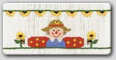 Sunflower Scarecrow Smocking Plate CEC 140 by SeamsSewSpecial, $4.50