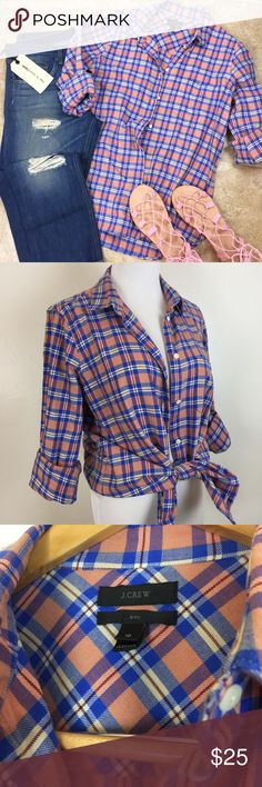 """J. CREW """"Boy"""" Plaid Shirt In excellent like new condition! Spring plaid. Cotton. 41"""" around the bust. 27"""" long. True to size. No marks or signs of wear. Non-smoking pet free home.  Suggested User  Fast Shipping  Offers Welcomed  Over 300 Items To Shop Over 1500 5⭐️ Ratings J. Crew Tops Button Down Shirts"""