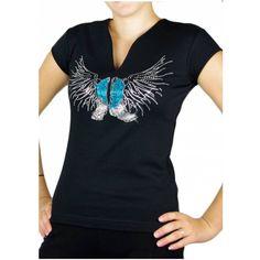 T-shirt aus schwarzer Baumwolle für Linedance mit Engelsflügel/Stiefel Strassmotif V Neck, Dance, Tops, Women, Fashion, Black Man, Heeled Boots, Jackets, Cotton