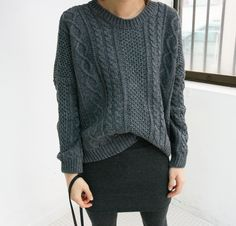 Grey sweater/skirt; nicely proportioned