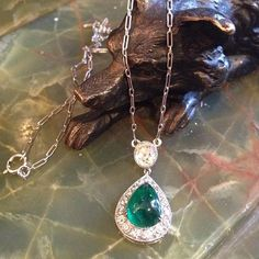 """""""Edwardian platinum pear shaped cabochon cut emerald (1.83ct)  lavaliere with old mine cut diamond (.52ct)  and an additional .50ct TW of old mine cut diamonds surrounding the emerald #Edwardian#platinumlavaliere#platinumerald#edwardianlavaliere#oldminecutdiamond#alexandriavaantiquejewelry#alexandriava"""" Photo taken by @theantiqueguild on Instagram, pinned via the InstaPin iOS App! http://www.instapinapp.com (12/24/2015)"""