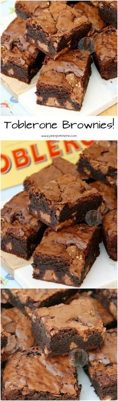 Toblerone Brownies! ❤️ Chocolatey, Easy, and Super Delicious Toblerone Brownies, full of Toblerone Chunks!