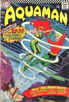 Aquaman 26 DC Comics Aqualad Mera The Huntress. A Silver Age comic book from 1966 Dc Comics, Comics For Sale, Aquaman Comics, Dc Comic Books, Comic Book Covers, Anton, Superman, Batman, Silver Age Comics