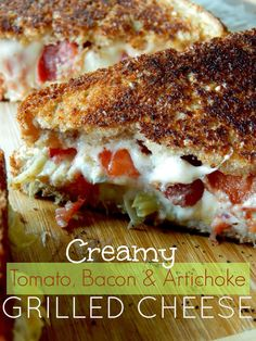 Creamy Tomato, Bacon and Artichoke Grilled Cheese {Ally's Sweet and Savory Eats:}