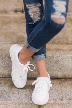 Kick Around White Sneakers at reddressboutique.com