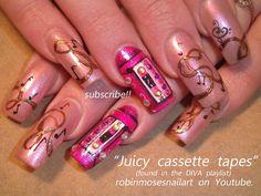 """""""summer nails"""" """"diva nails"""" """"long nails"""" """"sexy nails"""" """"fun nails"""" """"basketball nails"""" """"cassette tapes"""" """"musical note nails"""" """"music nails"""" """"long nail art"""" """"teal nails"""" """"blue nail art"""" """"south beach nail art"""" """"pink and teal nails"""" """"beast nails"""" pink blue teal Music Note Nails, Music Nails, Nail Art Blog, Nail Art Videos, Long Nail Designs, Nail Art Designs, Basketball Nails, Tape Nail Art, Tape Nails"""