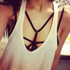 Cage bra harness and cotten tee.