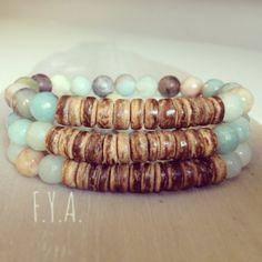 Semi precious amazonite stretch boho rustic fun Summer stacker bracelet
