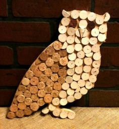 Repurposed Cork Owl Wall Decor/Hot Pad by:-macmaddies