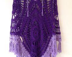 Purple knit poncho fringe by eliabella on Etsy