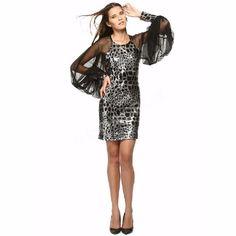 Siyah Abiye Payet İşlemeli Mini Elbise,transparent uzun kollu 36 beden