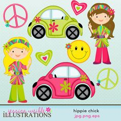 Hippie Chick Cute Digital Clipart for Card by JWIllustrations