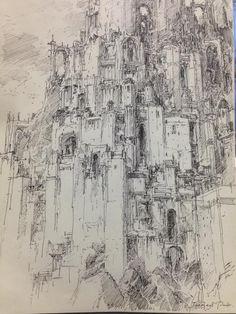 Fantasy City, Fantasy Castle, Fantasy Map, Environment Concept Art, Environment Design, Illustrations, Illustration Art, City Drawing, Architecture Drawings
