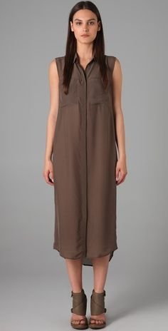 t by alexander wang silk chiffon sleeveless shirtdress $210 #fashion