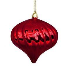 "4ct Shiny Red Hot Swirl Shatterproof Onion Christmas Ornaments 4"""""