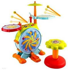 WolVol Electric Big Toy Drum Set for Kids with Movable Working Microphone to Sing and a Chair - Tons of Various Functions and Activity, Bass Drum and Pedal with Drum Sticks (Adjustable Volume) Kids Drum Set, Drums For Kids, How To Play Drums, Toys For Boys, Kids Toys, Electric Drum Set, Electric Chair, Electric Guitars, Best Drums
