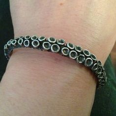 Sterling silver octopus tentacle cuff bracelet by Zulasurfing great on Etsy