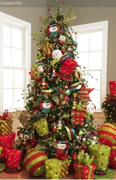 lime green & red fun WhoVille decoration I love it I like the packages under the tree!