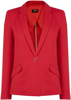 Womens cherry textured ponte jacket from Oasis - £45 at ClothingByColour.com Oasis, Cherry, Blazer, Texture, Coat, Jackets, Clothes, Women, Fashion