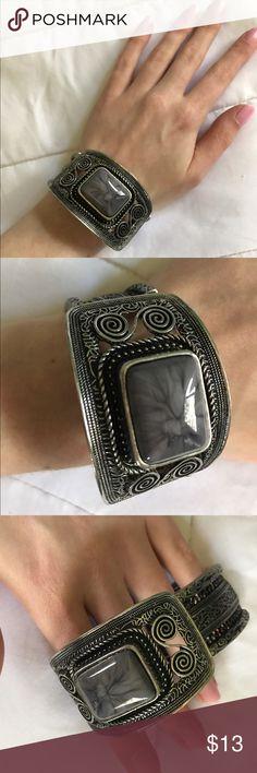 Coachella cuff bracelet Grey pendent statement cuff bracelet. Just a little too big on my wrist Jewelry Bracelets
