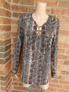 MICHAEL KORS 100% Silk Blouse S Tunic Python Snakeskin Animal Print Shirt Pocket #MichaelKors #Blouse #Casual
