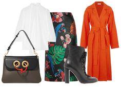 Сумка J.W. Anderson, блуза Dolce & Gabbana, юбка Valentino, ботильоны Chloé, пальто Isa Arfen