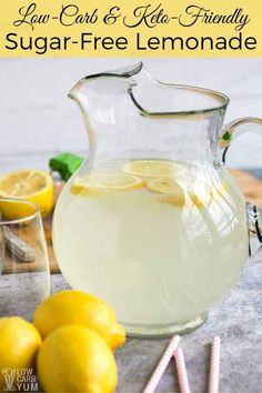 Fresh Squeezed Lemonade // lemonade drinks // lemonade recipe // fresh lemonade … - All About Health Energy Drinks, Healthy Lemonade, Sugar Free Limeade Recipe, Low Calorie Lemonade Recipe, Fresh Lemonade Recipe, Diabetic Drinks, Sugar Free Drinks, Sugar Free Juice, Drink