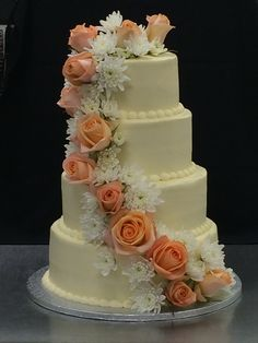 Wedding Cake Buttercream White Bold Scrolls Cascade Red