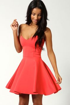 """Polly Bandeau Skater Dress - coral, coral £20.00 by boohoo.com"" I would love to see this dress in like a bubble gum pink. Love it."
