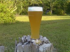 German style wheat beer on a stump
