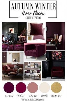 Autumn Winter colour color trends interior home decor Burgundy mulberry dark berry cherry plum velvet accent chair black walls cushion blankets brass gold accessories Burgundy Bedroom, Burgundy Walls, Burgundy Decor, Burgundy Living Room, Plum Bedroom, Maroon Bedroom, Plum Decor, Plum Walls, Bedroom Color Schemes
