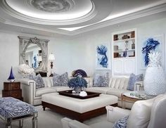Truly majestic blue and white living room decor, glam blue and white living room decor, coastal decor, transitional style blue living room decor Blue Living Room Decor, Living Room Decor Inspiration, Living Room Decor Traditional, Living Room White, Beautiful Living Rooms, Living Room Furniture, Living Room Designs, Elegant Home Decor, Elegant Homes