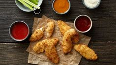 Oven Fried Chicken Tenders - Make the crispiest chicken fingers you'll ever make using panko bread crumbs. They'll be ready in only 30 minutes! New Recipes, Dinner Recipes, Cooking Recipes, Favorite Recipes, Recipies, Dinner Ideas, Meal Ideas, Yummy Recipes, Food Ideas