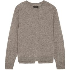 Isabel Marant Clash split-back wool, yak and cotton-blend sweater ($530) ❤ liked on Polyvore featuring tops, sweaters, isabel marant, textured sweater, woolen sweater, isabel marant sweater, fuzzy sweater and gray top