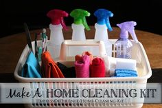 Make A Home Cleaning Kit includes recommended supplies and eco-friendly recipes idea is good change cleaning ingredients baking soda, tea tree, citrus, peeppermint essential oils, castille soap
