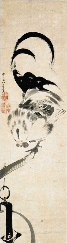 釣瓶に鶏図 Rooster on Tsurube, Rooster on a bucket. 伊藤若冲 ITO Jakuchu