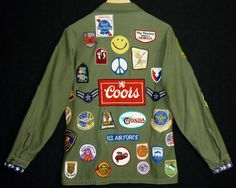 1960s / 70s Shirt With Patches / S  / Vietnam / AMERICAN FLAG Cuffs / Hippie / Rocker / Men / Women / Hipster / 60s Jacket / 70s Jacket