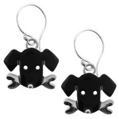 Black Lab Labrador Dog w/ Bone Enamel & Silver Dangle Earrings