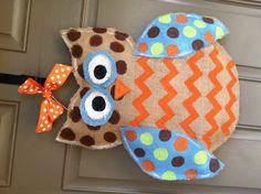 burlap owl | Burlap chevron owl door hanger | Crafts