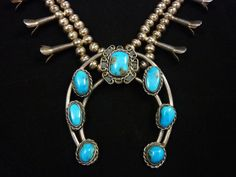 108g Old Pawn Vintage Navajo Sterling Silver Squash Blossom Necklace w Brilliant Bisbee Turquoise! Striking Turquoise in Graceful Classic!