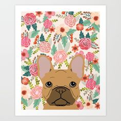 French Bulldog florals portrait dog breed custom pet portraits by pet friendly frenchie
