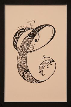 Zentangle inspired drawing  of the letter C by creativeartbyjudy