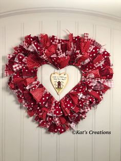 Red Heart Rag Wreath Red Heart Rag Wreath Kat s Creations Home is always where you hang your heart This rustic farmhouse wreath nbsp hellip decorations door Valentine Wreath, Valentine Crafts, Valentine Ideas, Front Door Decor, Wreaths For Front Door, Wreath Boxes, Door Wreath, Wreath Ideas, Heart Shaped Frame