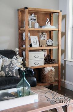 Beautiful Bookshelf DIY - Could use two narrow ones on each side of window in dining room.